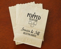 Engagement Party Favor Bags, Popcorn Buffet, Candy Table, Chocolate Bar, Treat Bags - Custom Names