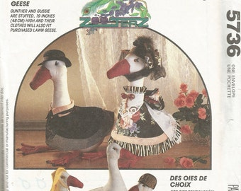5736 Free US Shipping Uncut Factory Folded Vintage McCall's Crafts Sewing Pattern Country Geese Goose Doll and Clothes Crafts Pattern