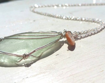 Seafoam Seaglass on Sterling Silver