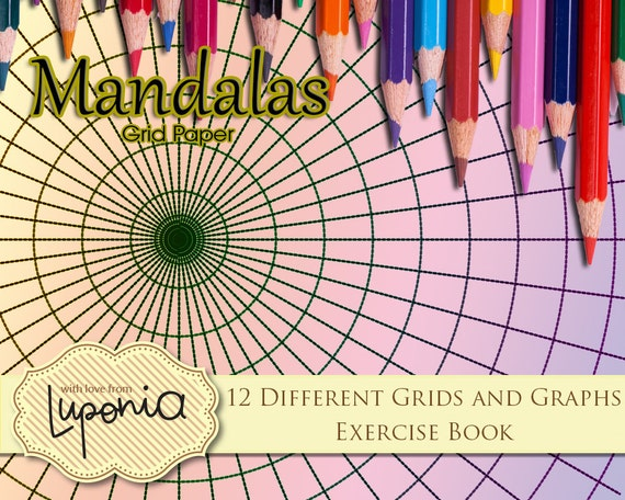 mandala grid paper 12 different grids by luponia on etsy
