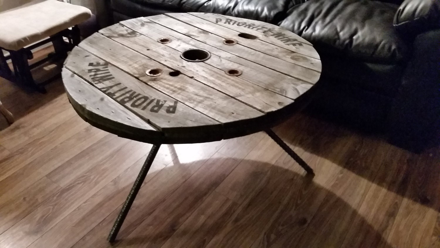 Reclaimed authentic industrial wire spool reel coffee table for Wire reel table