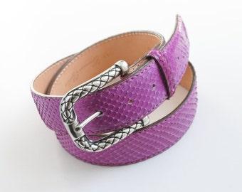 Python Belt, Vintage Leather Belt, Reptile's House Belt, Orchid Belt, Fuchsia Belt, Vintage Belt, Genuine Python Leather