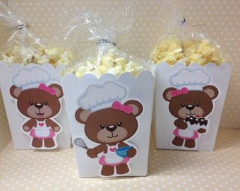 Baker Bear Cooking Party Popcorn or Favor Boxes - Set of 10