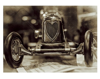 """Toy Roadster, Toy Car, Toy Photography, Retro photography, Fine Art Photography, Love Heart Photography, """"A Roaster With Heart - Sepia"""""""