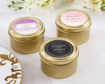 Personalized Gold Round Wedding Favor Tins (set of 24) 3 Choices. Bridal Shower Favors, Wedding Favors, Party Favors