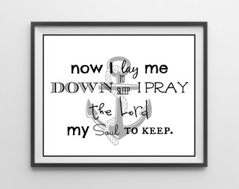 Now I Lay Me Down To Sleep I Pray The Lord My Soul To Keep/ Bedtime Prayer/ Boys Prayer/ Boys Room Decor/ Nursery Decor/ Prayer Print
