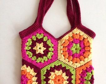 Crochet tote bag - hexagon crochet bag - shopping bag - market bag - reusable bag - crochet cotton bag - granny square bag - crochet purse