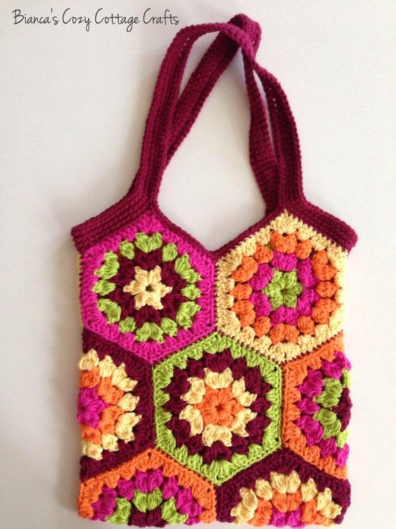 Crochet tote bag - hexagon crochet bag - shopping bag - market bag ...