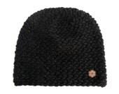 Bonnet noir, grosse maille 100% alpaga de couleur naturelle, fait main