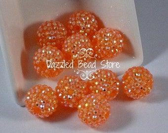 20mm resin chunky RHINESTONE beads - Tangerine/orange