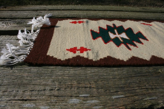 Vintage Rag Rug Runner Table Runner Beige Red Brown White