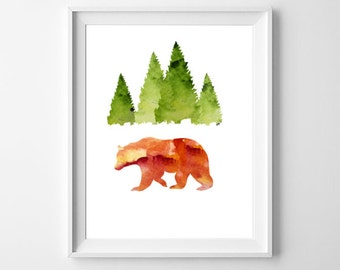 Bear Art Print, Printable Bear Art, Watercolor Bear, Woodland Animals, Cabin Decor
