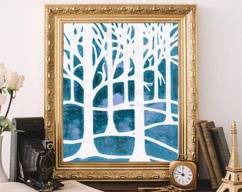 Abstract Tree Art, Printable Art, Minimalist Decor, Modern Wall Art, Instant Download, Tree Print