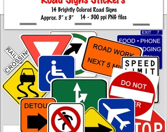 """Digital Road Signs Stickers 14 colorful stickers- approx. 3"""" -300ppi-print-photographers-scrapbook-clip art-printable-jpeg-INSTANT DOWNLOAD"""