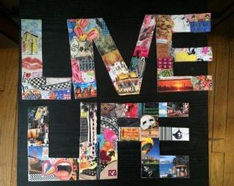 Magazine Collage 'Live Life' Strip Art