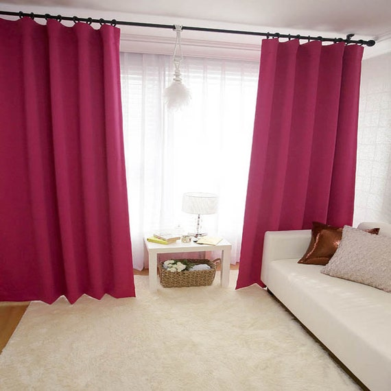 hot pink blackout single curtain drapery panel by enapremium