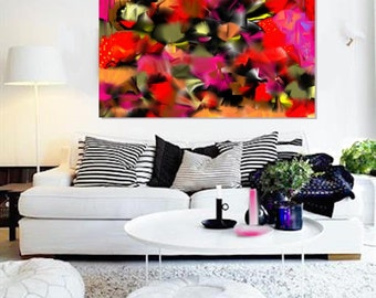 Fleurs émotives: abstract painting for 375 dollars CAD.