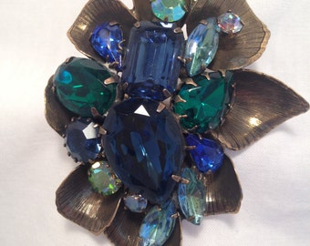 Brooch w/ Blue & Green gems