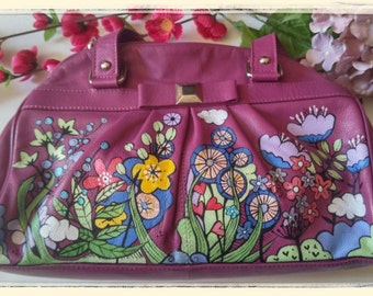 Leather upcycled handbag-hand painted-top handles-flowers-dark pink leather- preloved