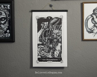 Dark Tarots - The Hierophant - Black single frame Giclee print on Epson matte photographic paper, 28cm x 46,3cm