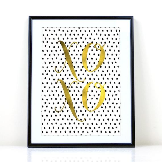 Xoxo Printable Home Decor Black Dots Gold Foil Printable Decor