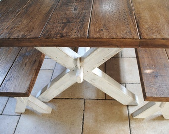 PIne Rustic X Frame  Dining table and Matching Bench