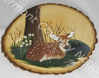 Hand painted fawn on basswood, Original Acrylic painting, Whitetail deer painting, baby deer painting, spring fawn, original Acrylic on wood