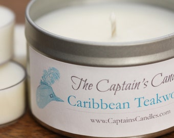 Caribbean Teakwood Scented Candle Tin - 100% All Natural Soy Candles - Hand Poured - 8oz Soy Tin - Homemade - Beach Candle - Unique Candle
