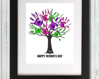 Father's Day Handprint Tree Fingerprints Fathers Day Download 2017 Gift - 11x14 Instant Digital Download Printable Download