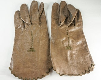Vintage Brown Leather Driving Gloves with Embroidery Detail est. 1940's