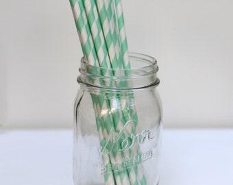 Striped Paper Straws Seafoam Green Pack of 25