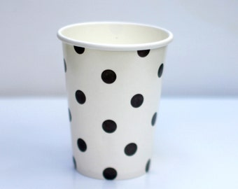 Black and White Polka Dot Cups Pack of 12