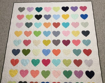 Polka dot applique heart quilt