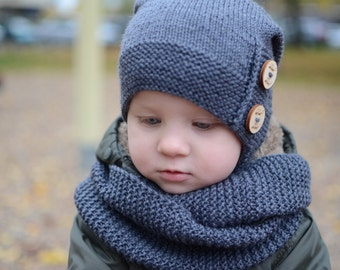 Knit Kids Slouchy Beanie, Toddler Boy Slouchy Beanie, Boys Merino Wool Slouchy Winter Hat, Gray Slouchy Boys Hat, Winter Hat For Kids