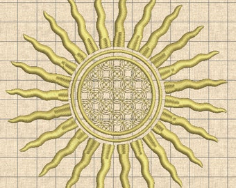 Sun #5 Machine Embroidery design Digital INSTANT DOWNLOAD for chairs sits, tablecloth, pillows