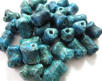 Vintage Faux Turquoise Unique Shape Clay Stone Beads 10-16mm (30)