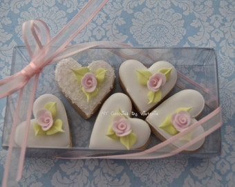 "Wedding Favors , Bridal Shower Cookies, 12  ""Packs"" Small Hearts Cookies  with a beautiful Rose (1) , Engagement Favors"