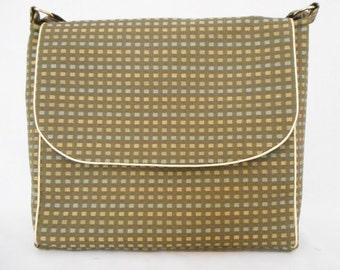 Green messenger bag gold trim. Handmade RiverPurseWorks