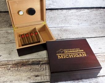 Personalized Cedar Cigar Humidor- Custom Logo- Gifts for Men- Groomsmen- Husband