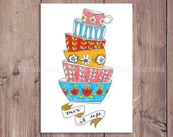 SALE! Mix It Up Postcard