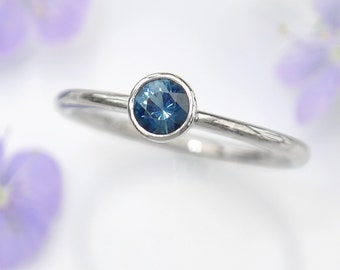 Fair Trade Blue Sapphire Engagement Ring | Ethical Recycled Platinum | Handmade to Size in the UK