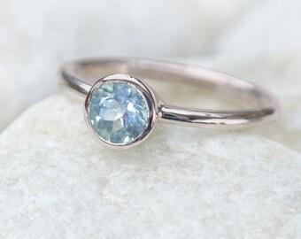 Aquamarine Engagement Ring in 18k White Gold - Eco Friendly - Handmade to Size
