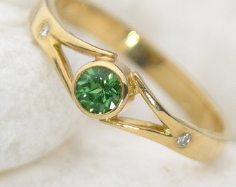 Tsavorite Engagement Ring with Diamonds - Eco Friendly - 18k Yellow or Rose Gold - Handmade to Size