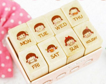 Schedule Wooden Rubber Stamp - Wooden Rubber Stamp - Diary Stamp - Rubber Stamp Set - Decorative stamp