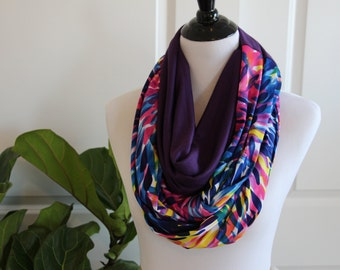 Multicolor Infinity Scarf with Color Blocking