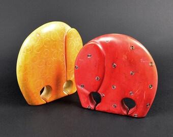 Colored soapstone elephant-COLOURFUL SOAPSTONE ELEPHANT, elephnt sculpture, handmade vintage soapstone