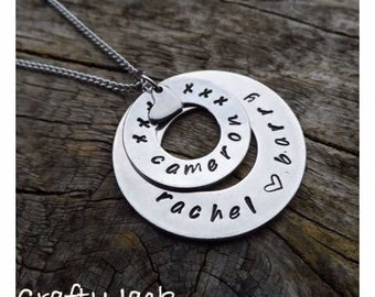 Personalized necklace. Handstamped family name circle necklace.