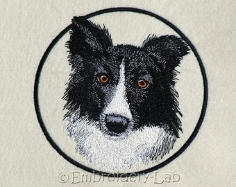 Border Collie 0001 Emblem - machine embroidery design