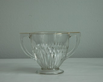 Vintage Gold Rimmed Sugar Bowl