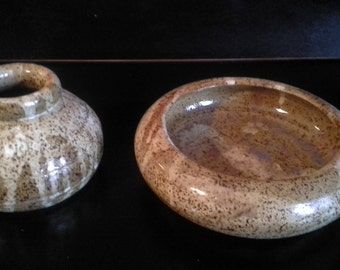 Speckled Stoneware Vase and Bowl